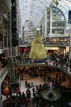 Busy mall at Christmastime
